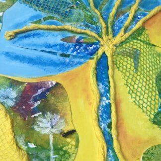 """Schilderij """"Multiped (duizendpoot) """" met afmeting 40 x 50 cm Aquarel, restafval en acryl"""